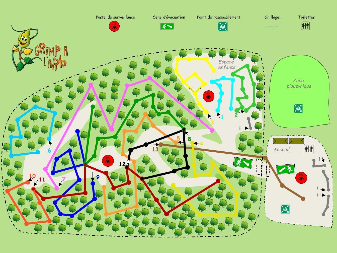 Plan parcours Grimp A L'Arb